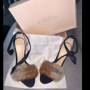 Alexandre Birman denim/fur sandals 38.5
